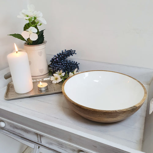 Large White Ceramic & Wood Bowl