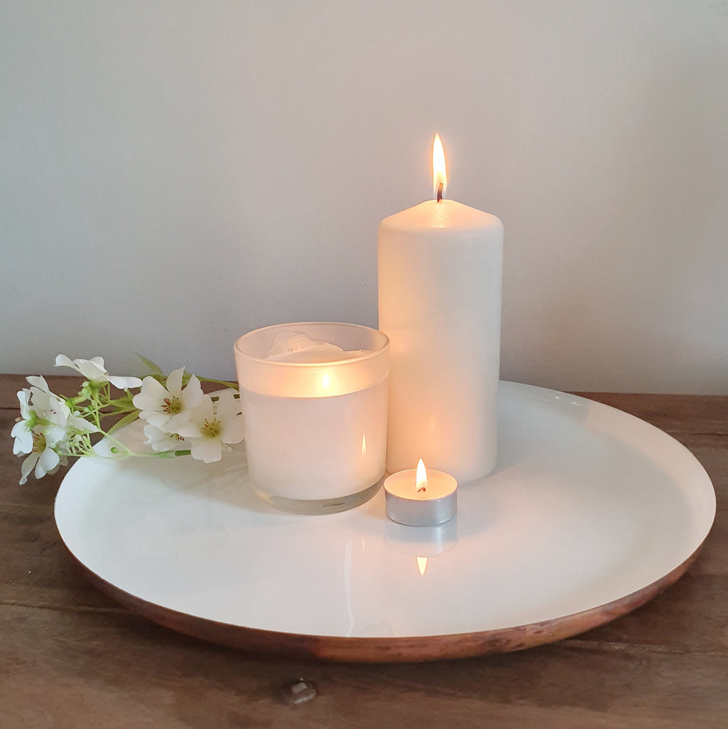 White and Brushed Copper Serving Plate