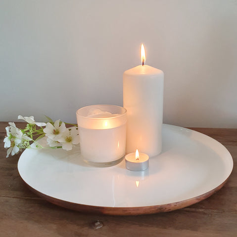 White and Copper Decorative Tray