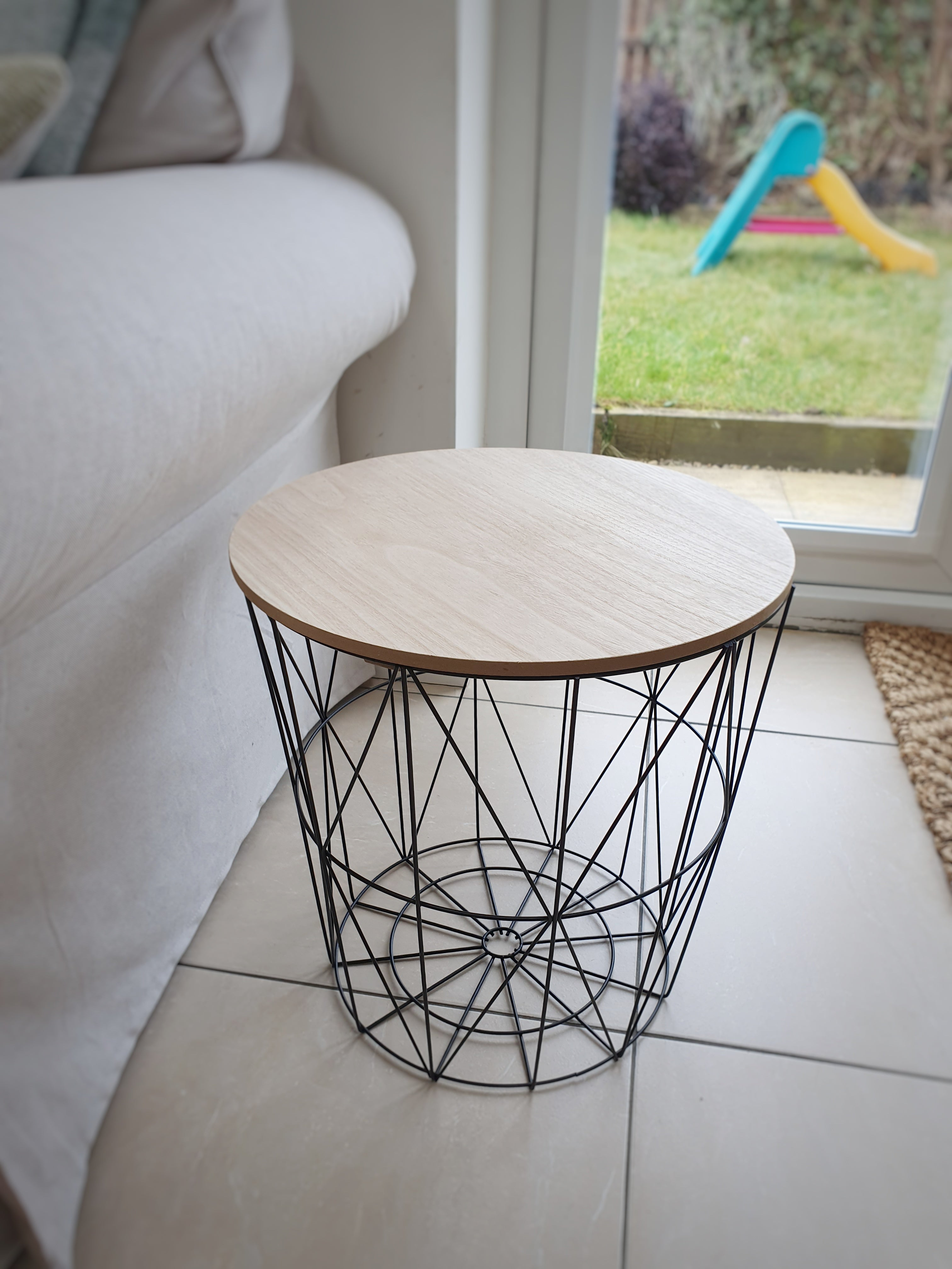 Round Modern Black Metal & Wooden Effect Wood Side Table
