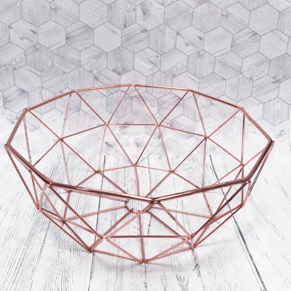 Rame Geometric Copper Wire Fruit Bowl