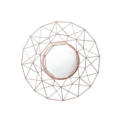 Large Rose Gold Geometric Wall Mirror