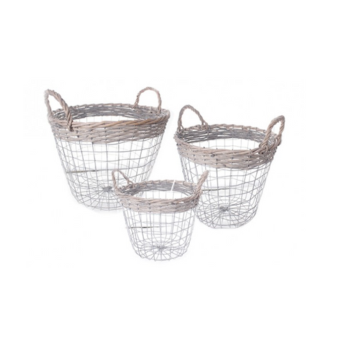 Round Wicker Wire Baskets