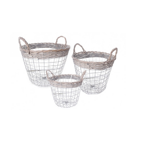 Wire Storage Baskets With Rope Handles