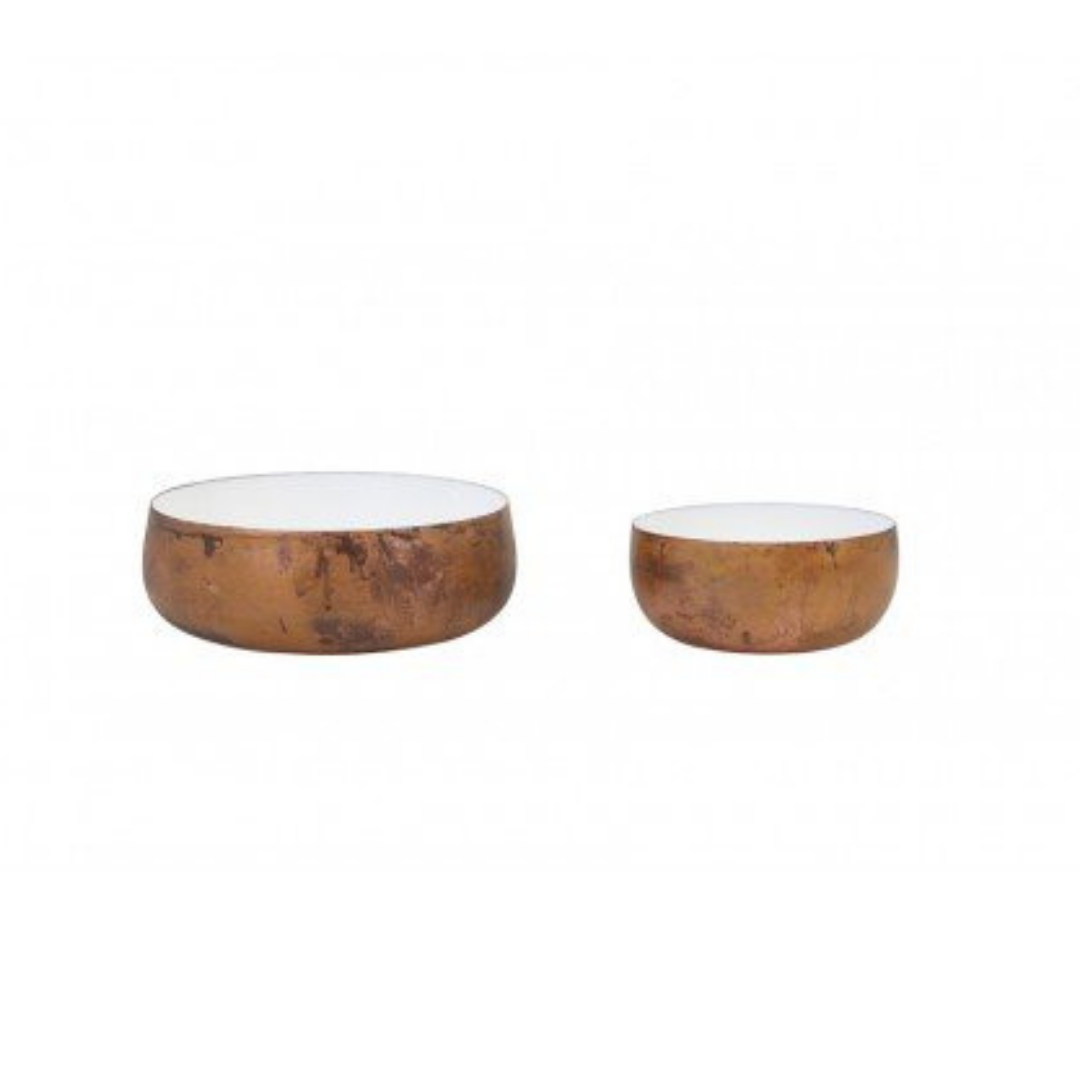 Set of 2 Weathered Copper Bowls