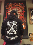 East coast Original Piston and razor hoodie with built in ear phone retainer loop
