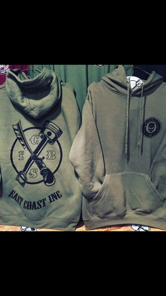 East coast original piston and razor army green hoodie