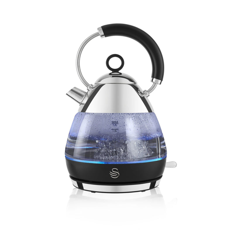 Swan 1.7L Pyramid Glass Kettle