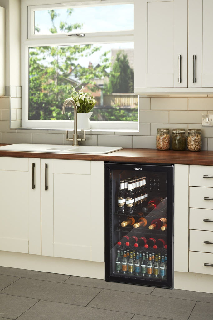 Swan 80L Glass Fronted Under Counter Fridge