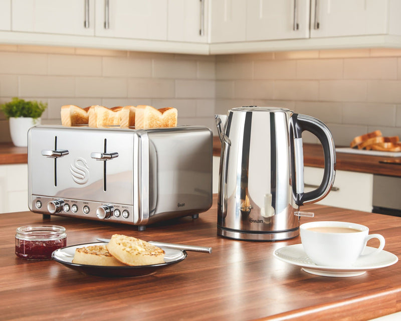 Swan 4 Slice Polished Stainless Steel Toaster