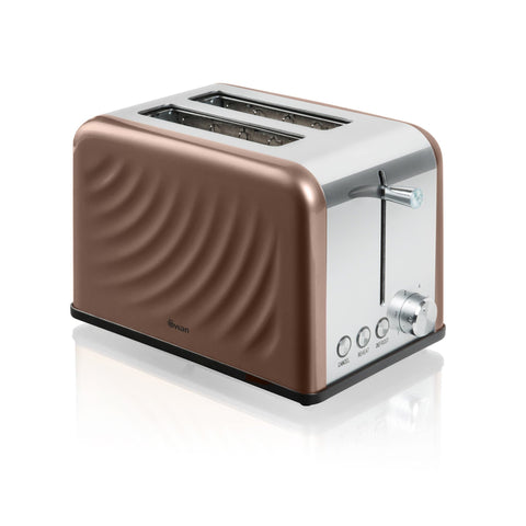Swan 2 Slice S/S Copper Twist Toaster