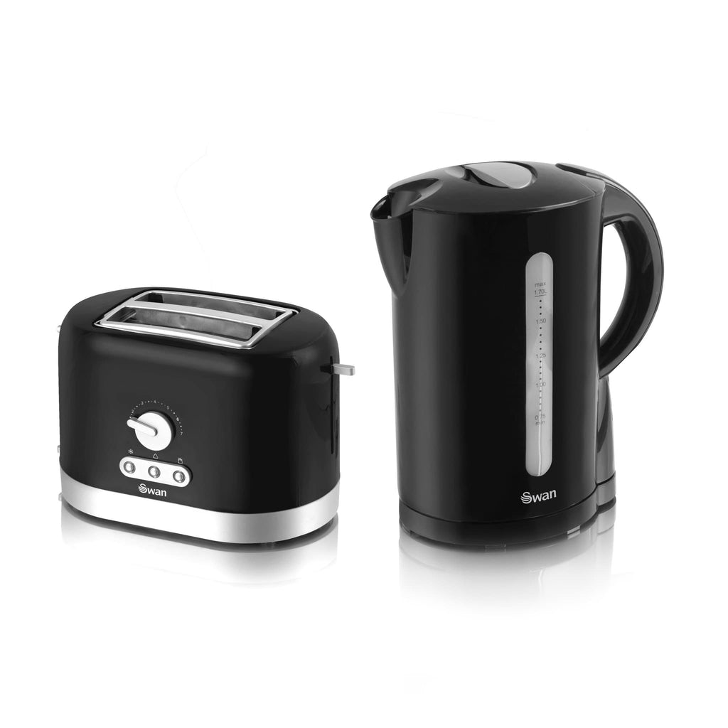 Swan Black Kettle and Toaster Twin Pack