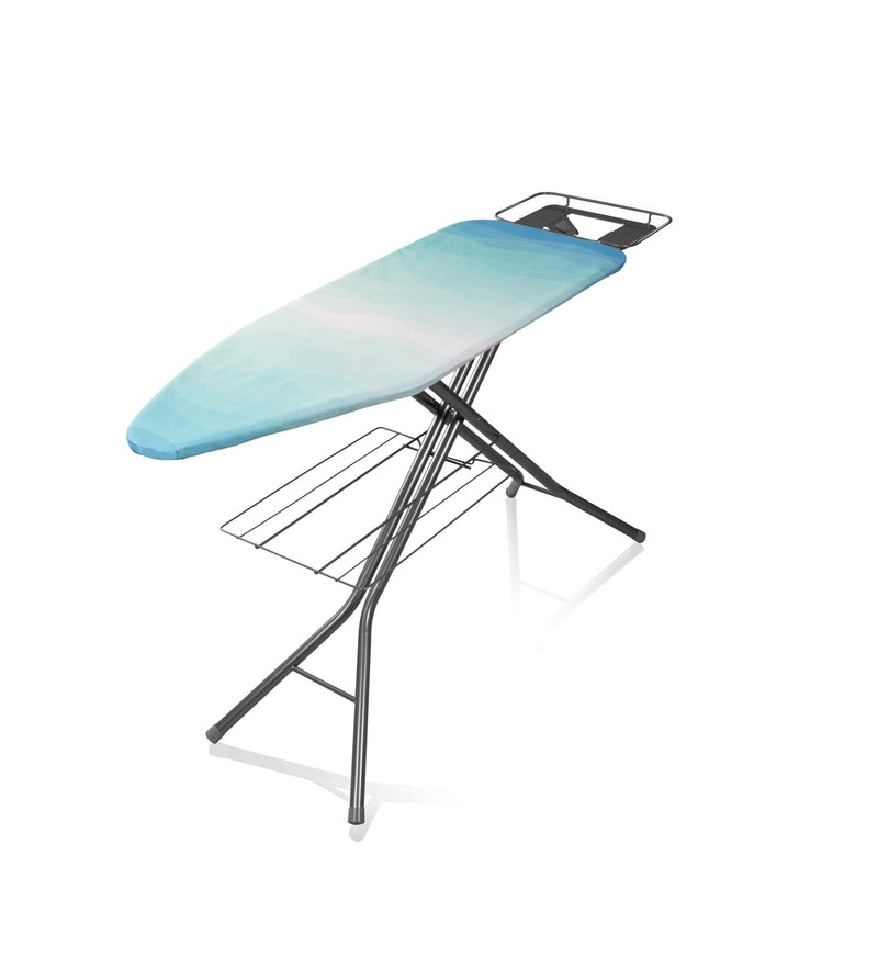 Swan Adjustable Ironing Board with Aqua Print Design