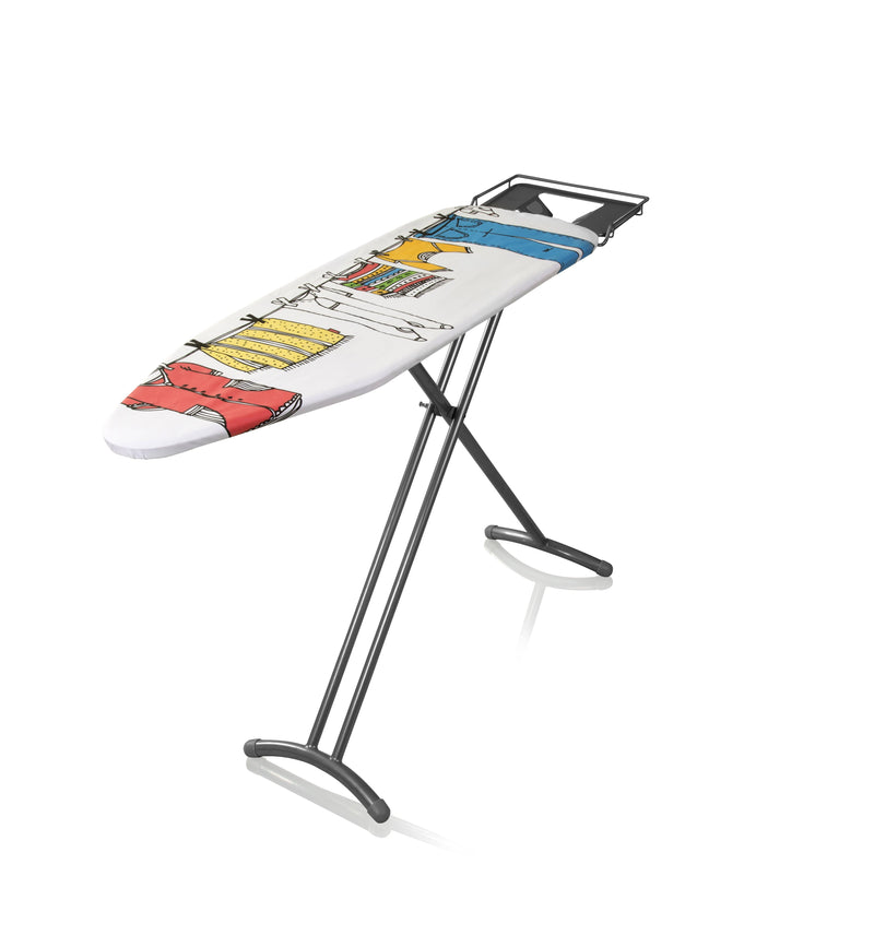 Swan Adjustable Ironing Board with Summer Clothes Print Design
