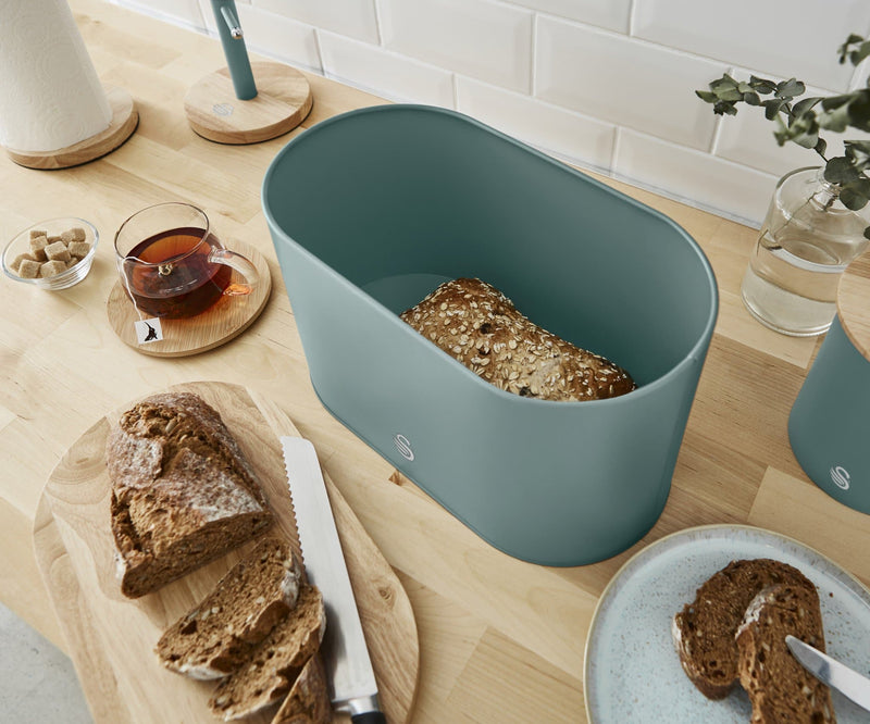 Swan Nordic Oval Bread Bin with Cutting Board Lid