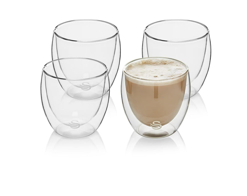 Swan Set of 4 Double-Wall Cappuccino Glasses 250ml