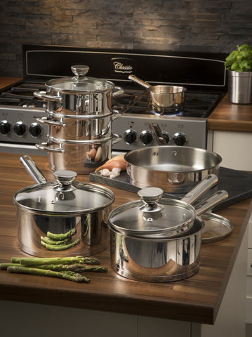 Swan 8 Piece Pan Set with Pouring S/Steel