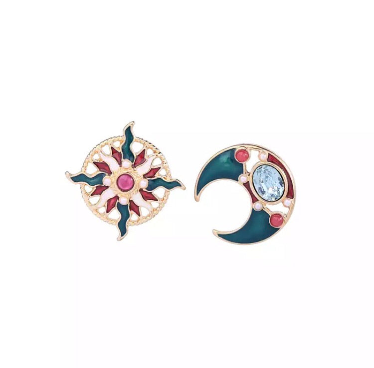 'Enamel Crescent' Earrings