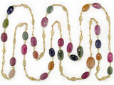 MULTICOLOR OVAL SAPPHIRE & ANTIQUE CHAIN NECKLACES