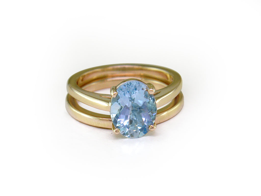 AQUAMARINE ENGAGEMENT RING & WEDDING BAND SET