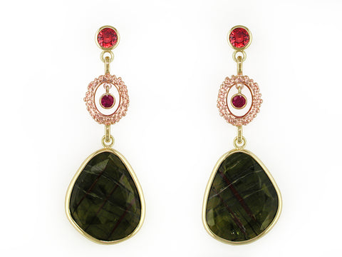 SAPPHIRE, RUBY & GREEN TOURMALINE EARRINGS