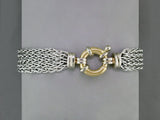 5-STRAND SILVER BRACELET WITH YELLOW GOLD CLASP