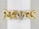 YELLOW GOLD BRACELET WITH WHITE GOLD DIAMOND PAVE LINK