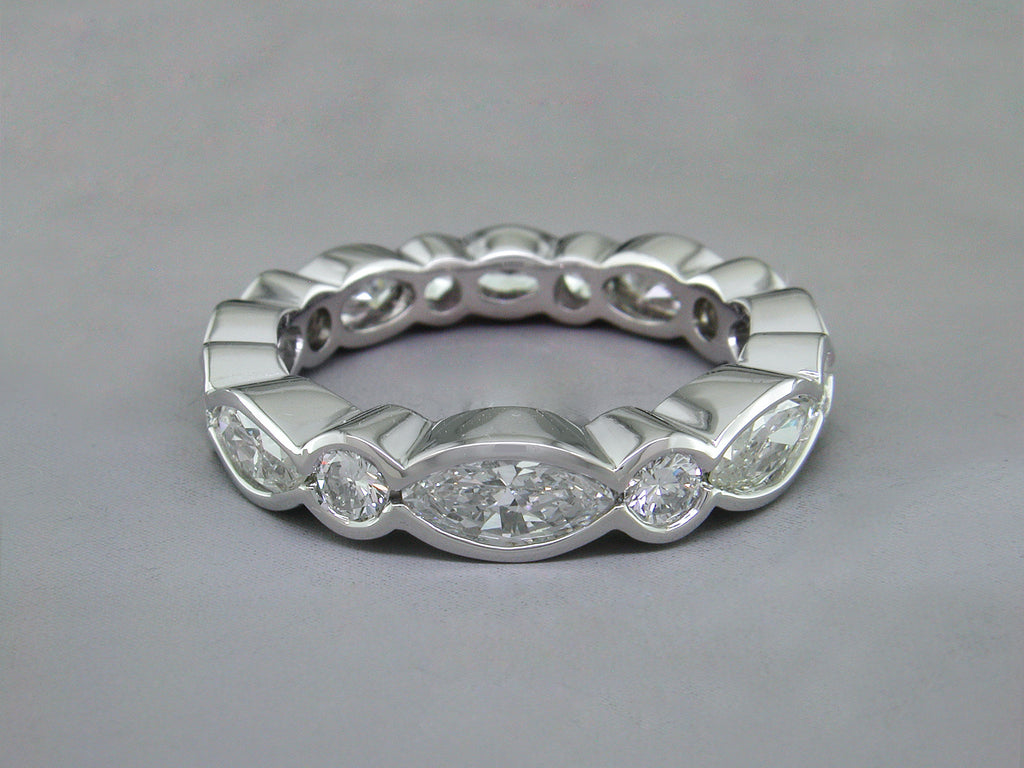 MARQUISE & ROUND DIAMOND ETERNITY RING