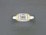 EMERALD CUT DIAMOND RING WITH SHOULDERS
