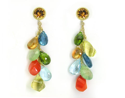 MULTISTONE DROP EARRINGS IN CITRUS COLORS