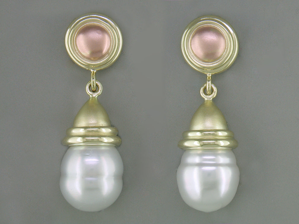 SOUTH SEA PEARL DROP EARRINGS WITH ROSE GOLD TOP