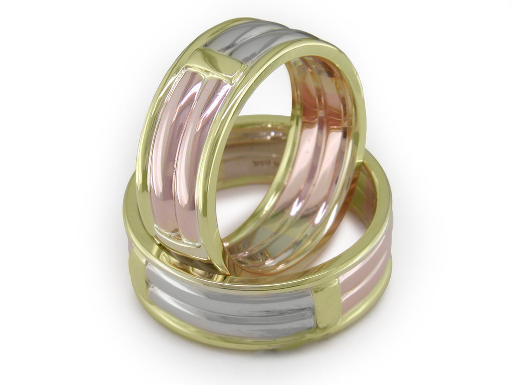 TRI-COLOR GOLD BANDS