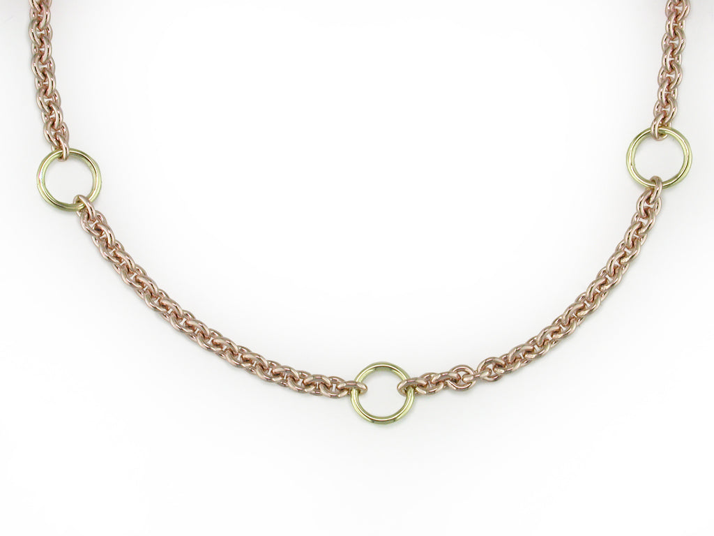 TWO TONE GOLD NECKACE WITH ENHANCER CLASP
