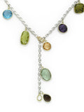 LARGE GEMSTONE DROPS ON SILVER CHAIN