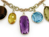 LARGE GEMSTONE DROPS ON YELLOW GOLD CHAIN