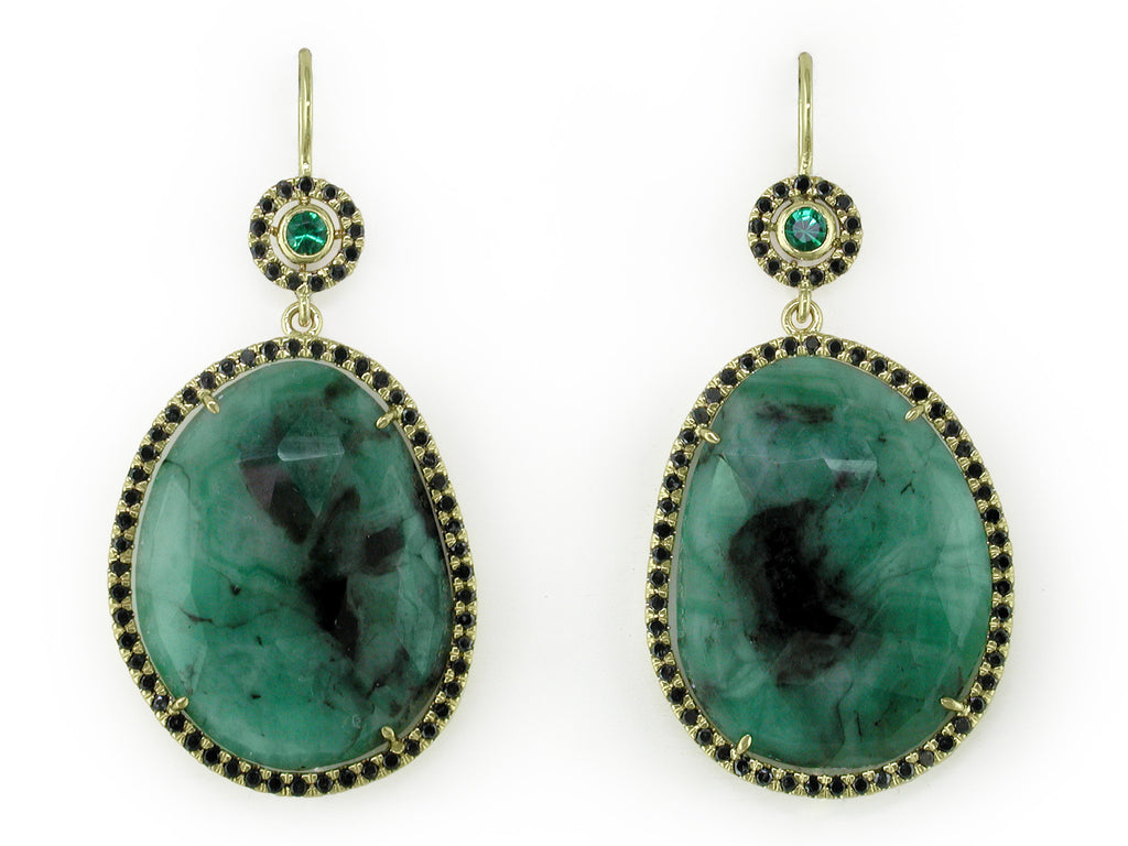 EMERALD EUROWIRE EARRINGS WITH BLACK DIAMOND MICROPAVE