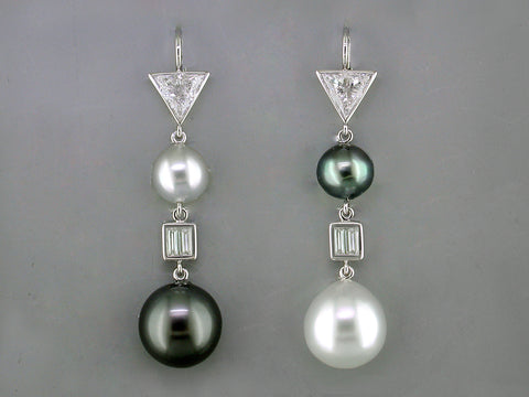 TRILLION DIAMOND & SOUTH SEA PEARL EUROWIRE DROP EARRINGS