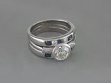 DIAMOND RING WITH SAPPHIRE & DIAMOND GUARD RINGS