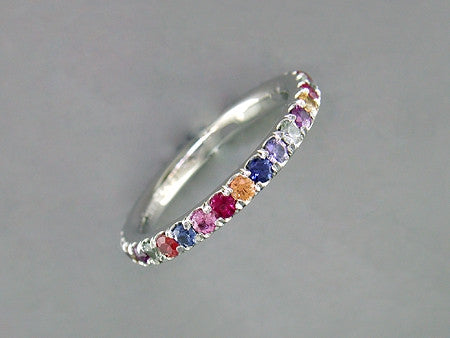 MULTICOLOR SAPPHIRE MICROPAVE ETERNITY RING
