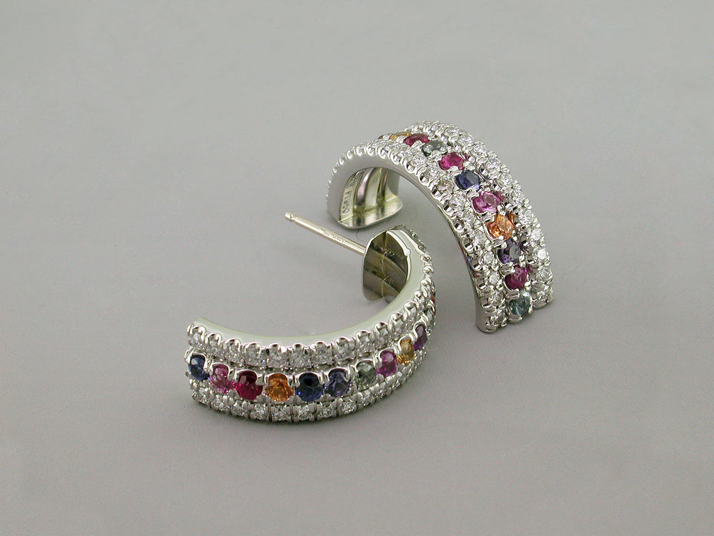 DIAMOND & SAPPHIRE HOOP EARRINGS