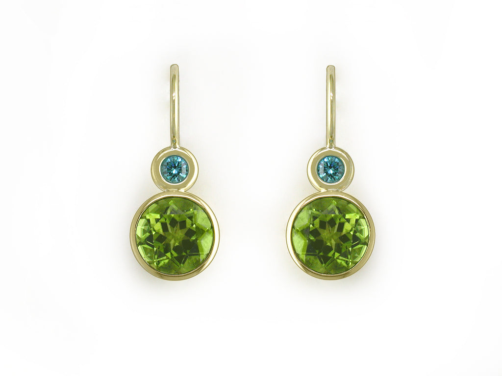 BLUE DIAMOND & PERIDOT EUROWIRE EARRINGS