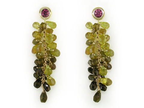 GARNET & OMBRE TOURMALINE DROP EARRINGS