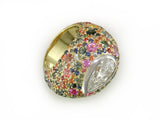PEAR SHAPE DIAMOND RING WITH MULTICOLOR SAPPHIRE PAVE