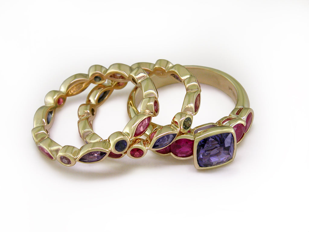 MULTICOLOR MARQUISE SAPPHIRE ETERNITY RING