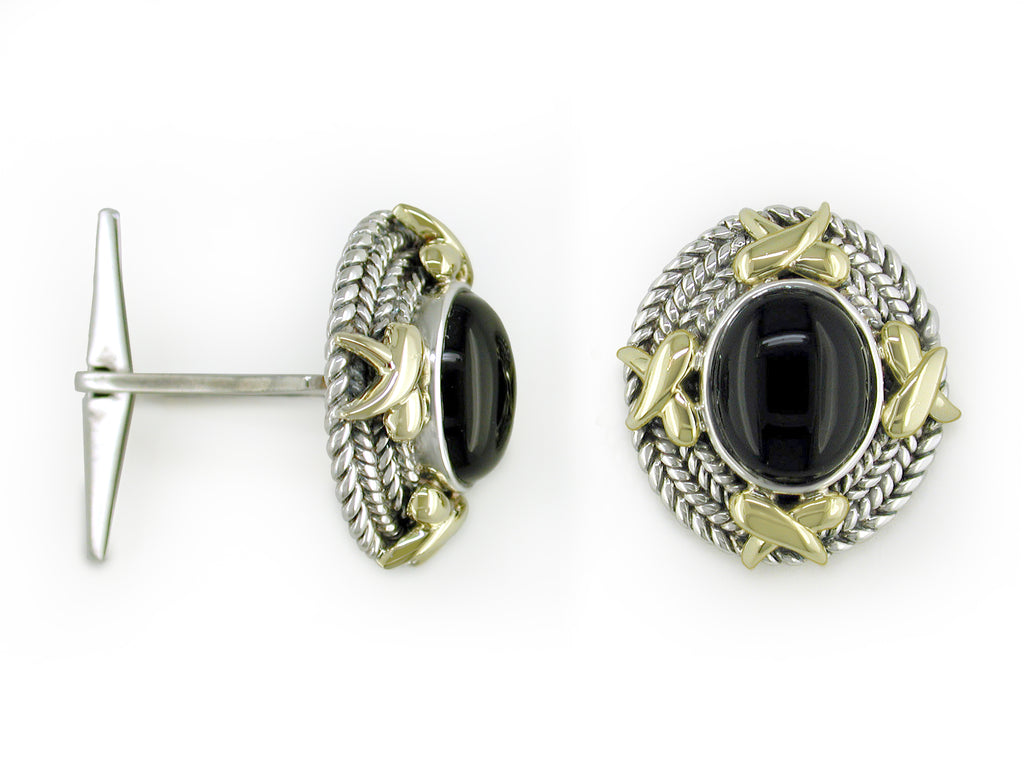 "BLACK ONYX, YELLOW & WHITE GOLD ""x"" CUFFLINKS"