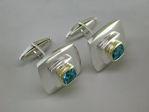 STERLING SILVER & BLUE TOPAZ CUFFLINKS