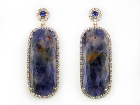 BLUE SAPPHIRE & DIAMOND MICROPAVE EARRINGS