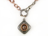ANTIQUE SILVER & PINK GOLD CHAIN NECKLACE WITH PENDANT