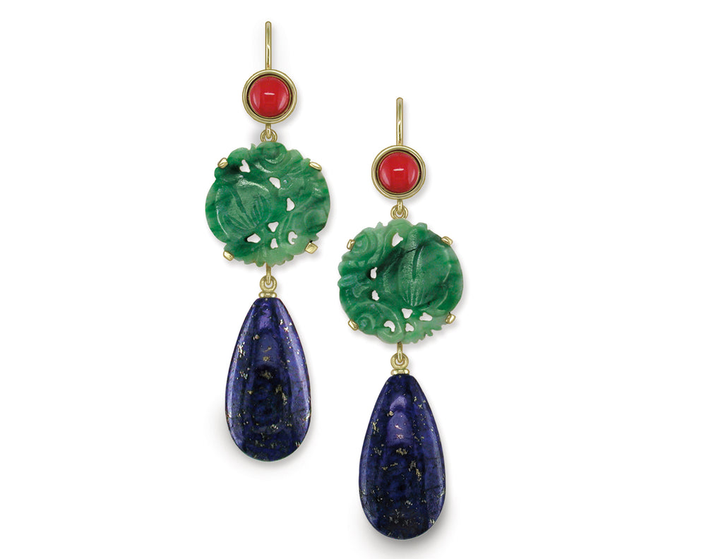 CORAL, JADE & LAPIS EUROWIRE EARRINGS