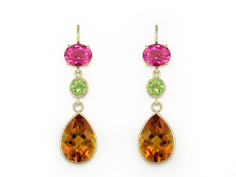 TOURMALINE, PERIDOT & MADERIA CITRINE DROP EARRINGS